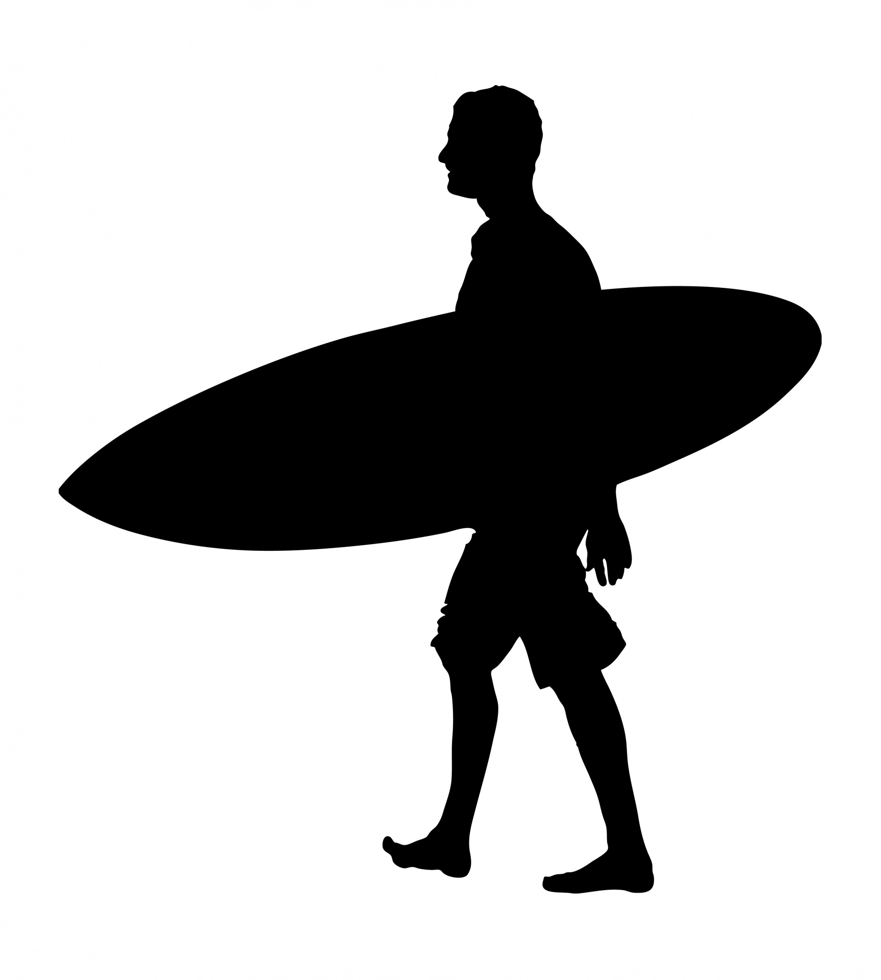 1727x1920 Man With Surfboard Silhouette Free Stock Photo
