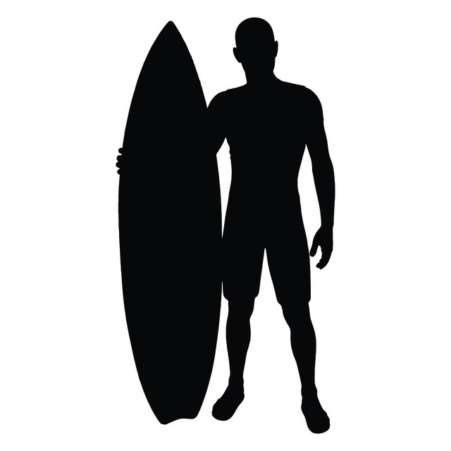 640x640 Surfer And Surfboard Silhouette Surfing Wall Stickers Sports Decor