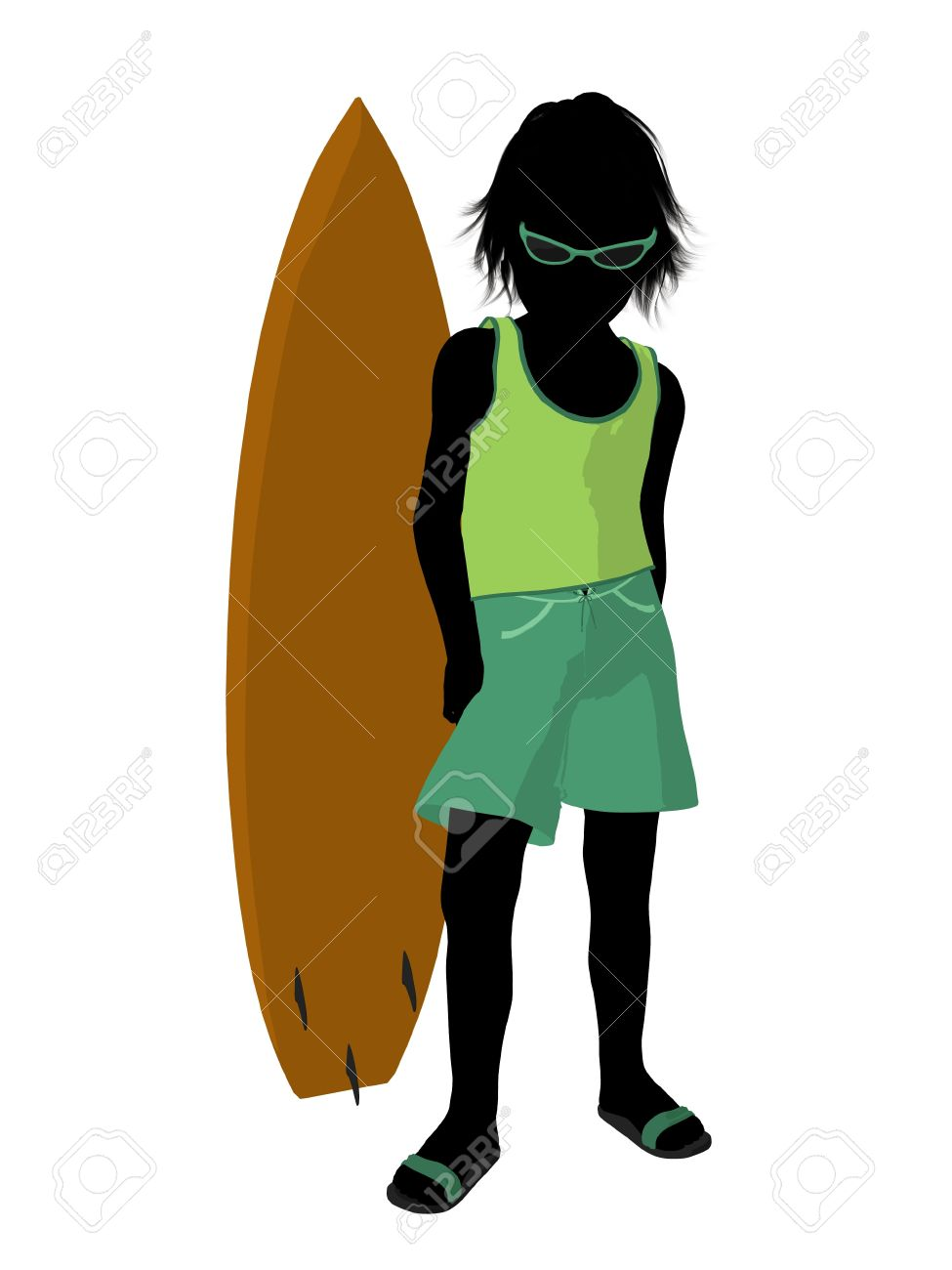 975x1300 Silhouette Boy Surfboard Clipart Collection