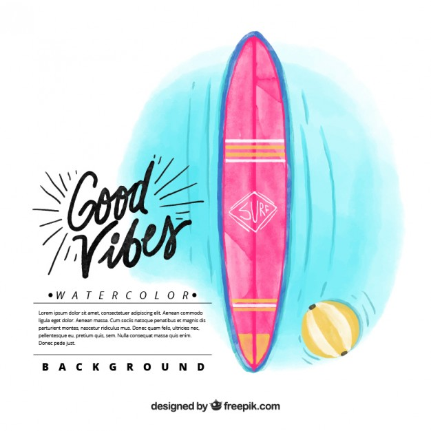 626x626 Watercolor Surfboard Background Vector Free Download
