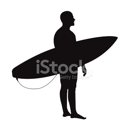 440x440 Surfer Silhouette Stock Vector