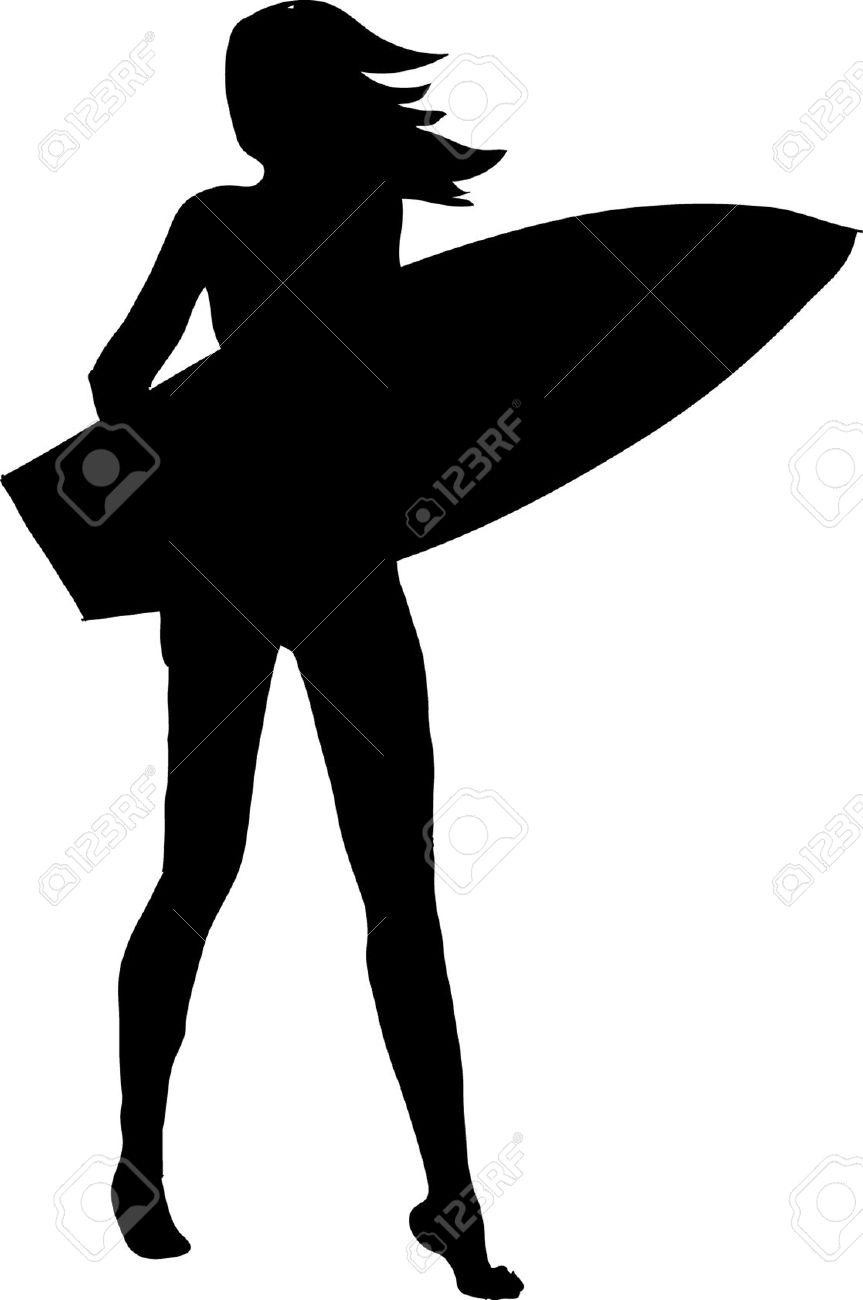 863x1300 Black Clipart Surfer