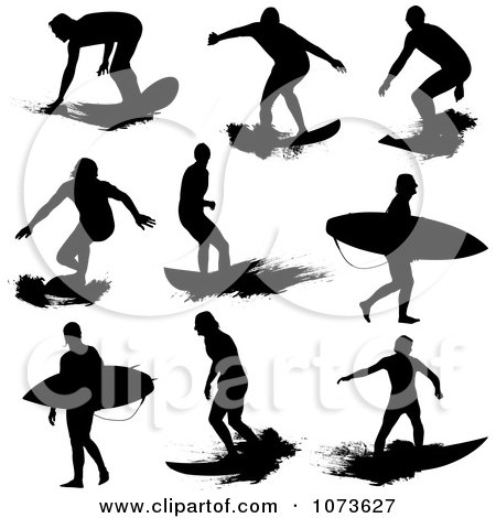 450x470 Clipart Black And White Surfer Dude Silhouette 2