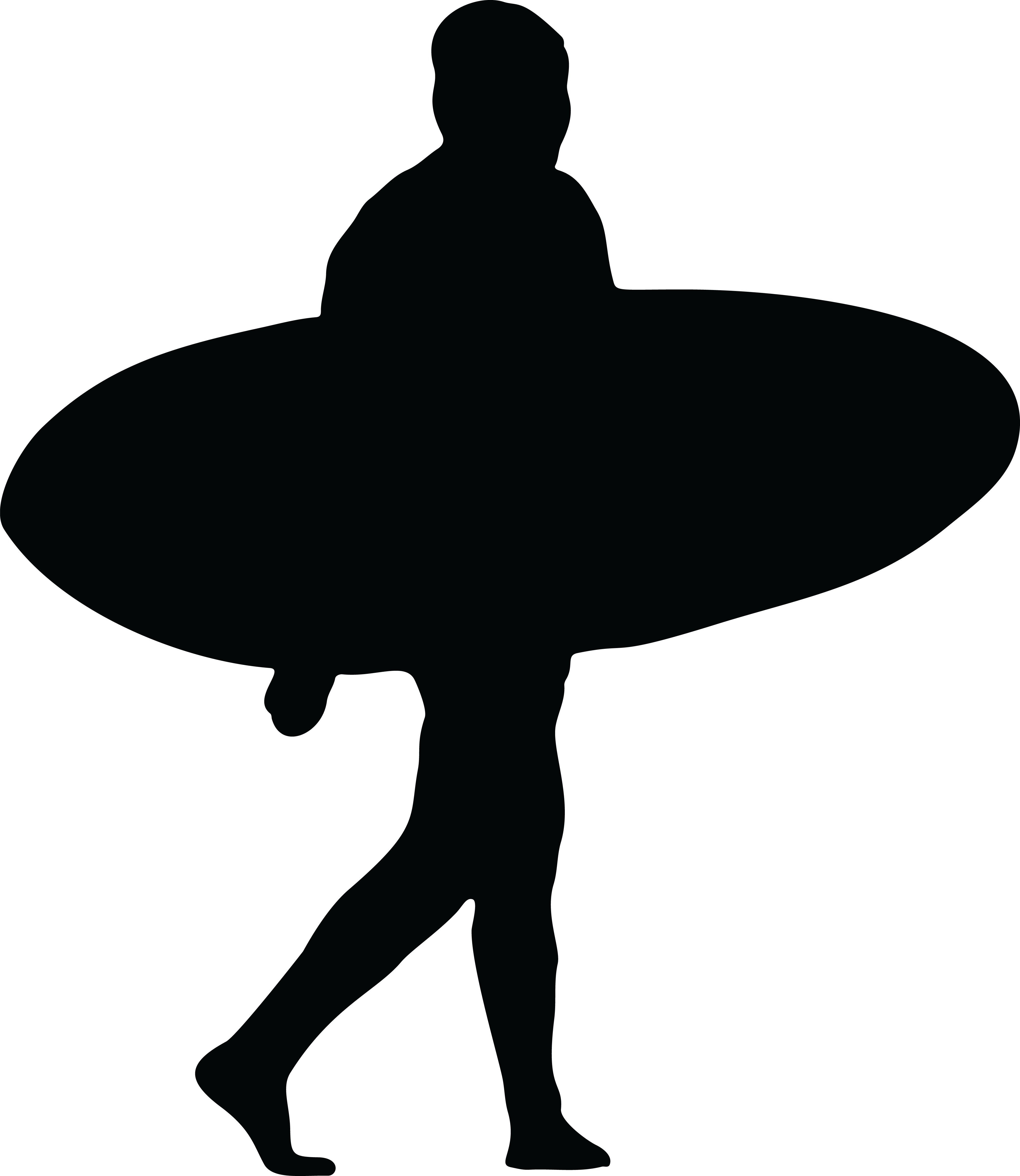 4000x4611 Free Clipart Of A Silhouetted Surfer