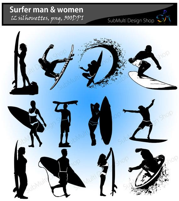 570x640 Surfers Silhouette Skateboard Silhouette Vector Surfers