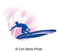 222x194 Surfing Icon. Surfer Silhouette With Abstract Tropical Clip Art