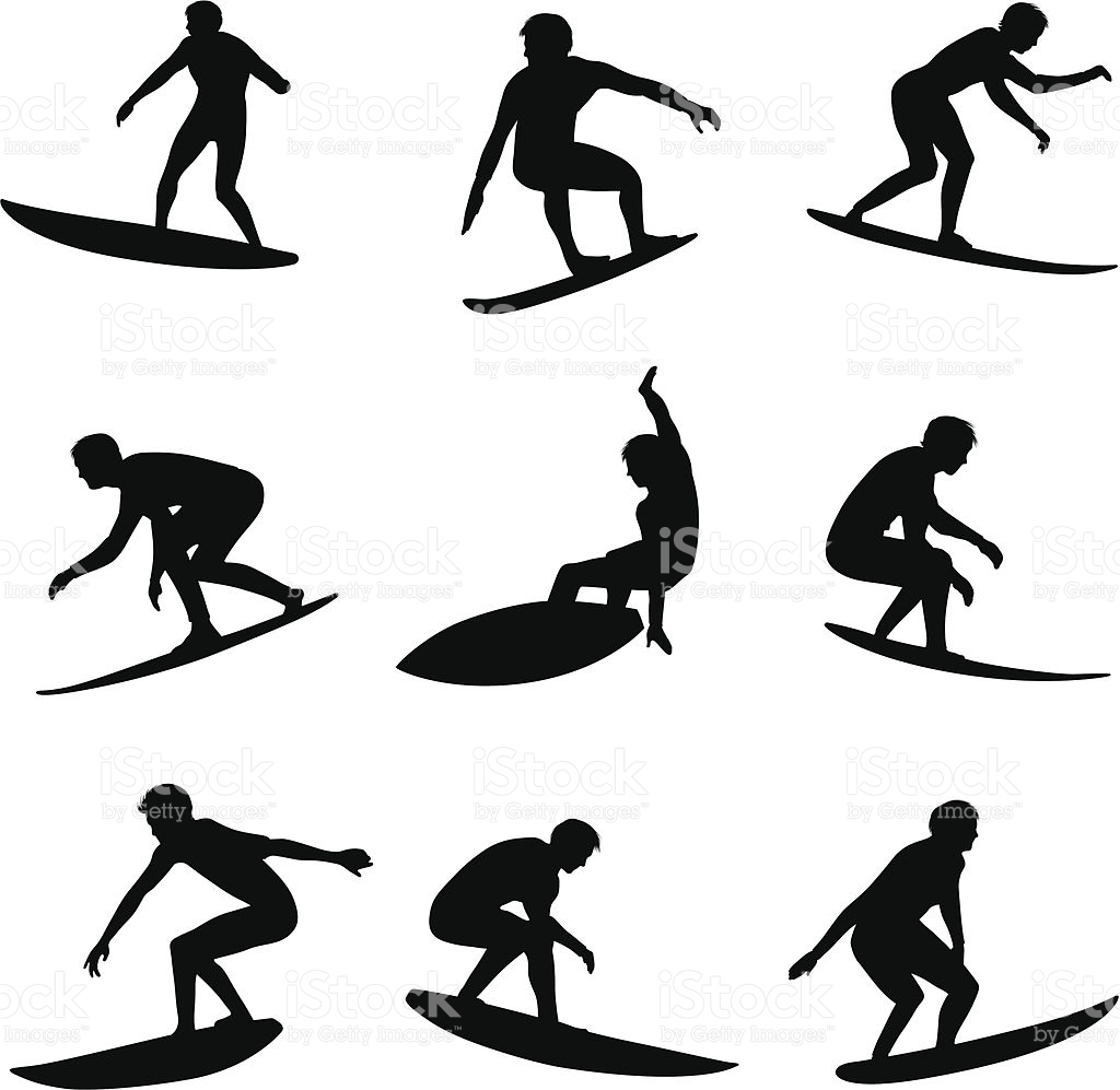 1024x997 Surfing Silhouettes. Download Also Includes Illustrator Cs3 File