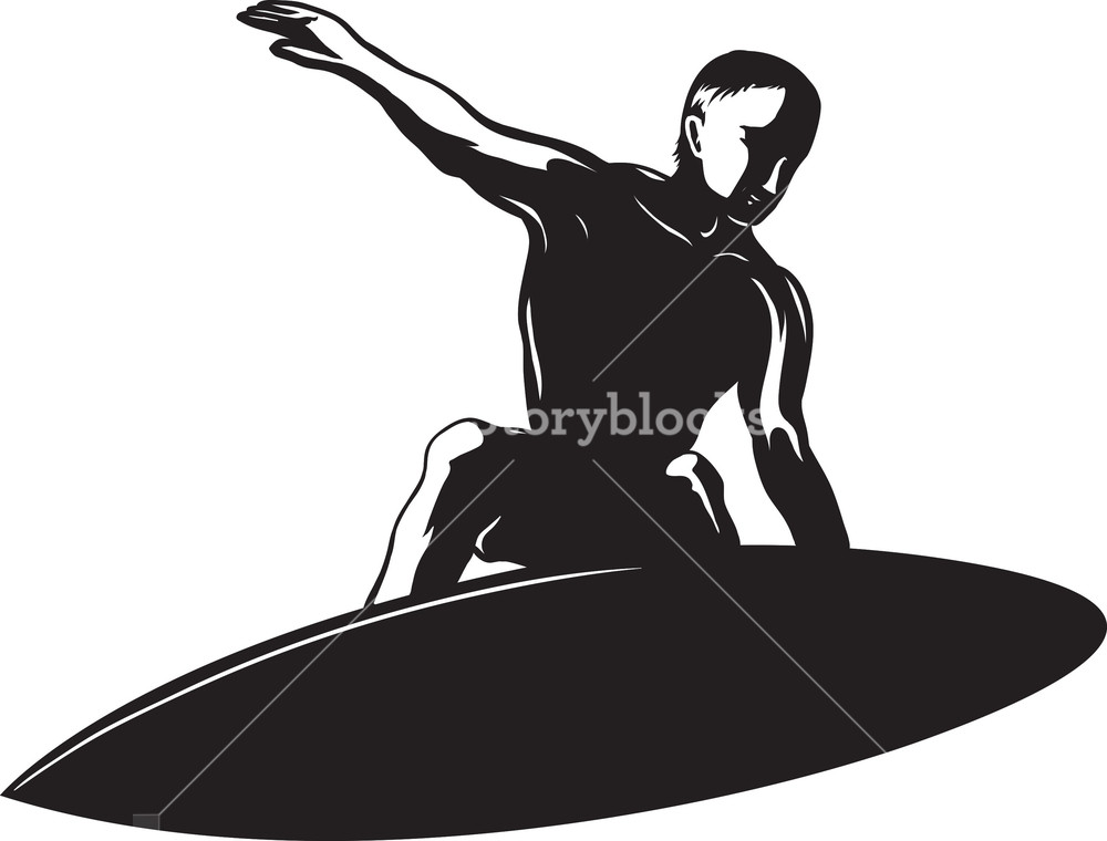 1000x760 Vector Surfer Silhouette Royalty Free Stock Image