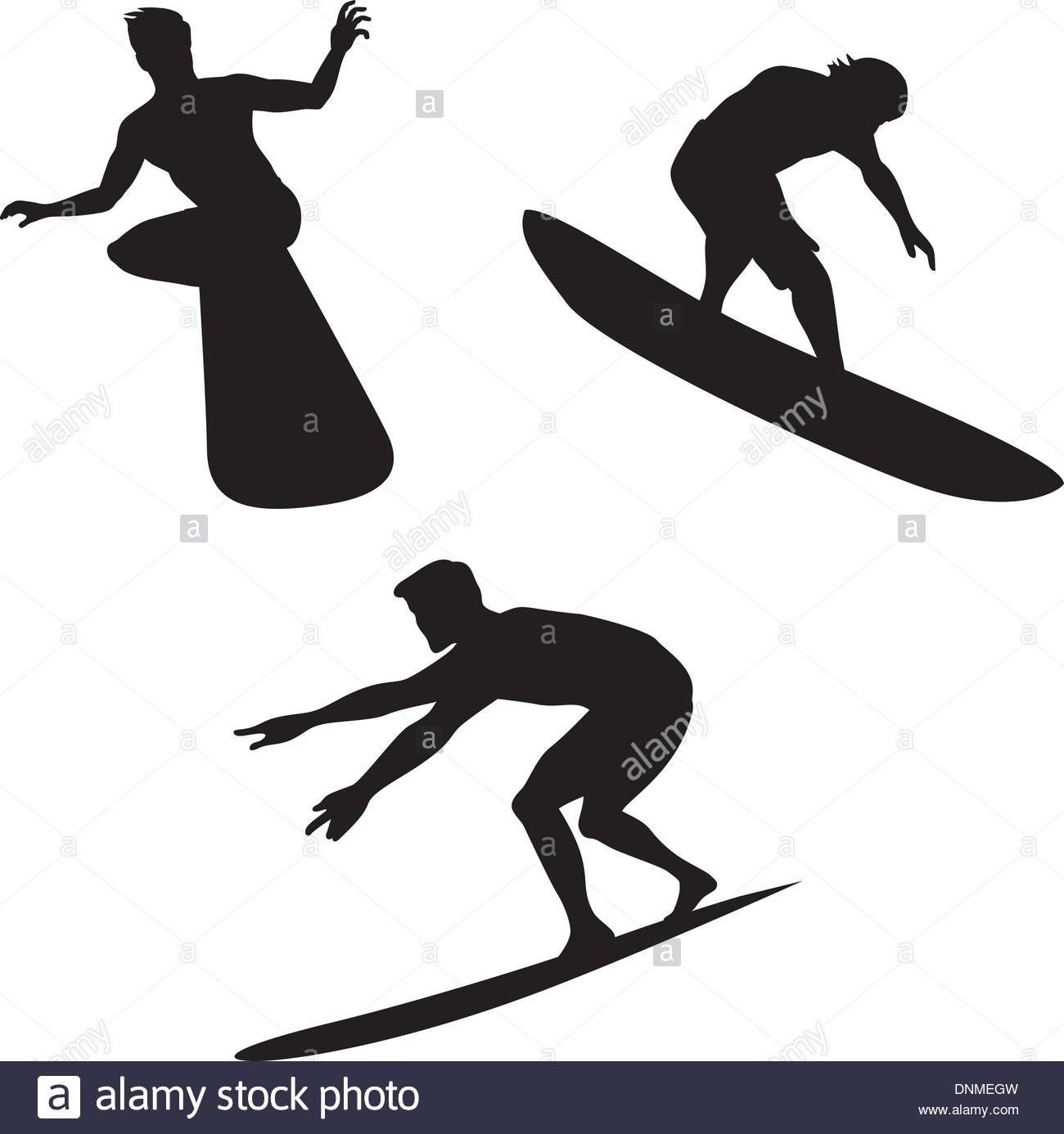 1300x1386 Illustration Of Three Surfers' Silhouettes In Various Positions