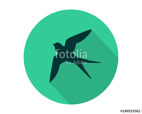 500x400 Swallow Bird Flying Silhouette Green Circle Image Vector Stock