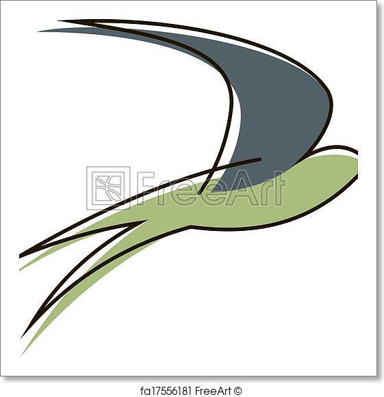 561x581 Free Art Print Flying Swallow Bird. Stylised Sketch