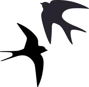 300x296 Swallow Birds Sticker Car Laptop Silhouette Vinyl Graphics