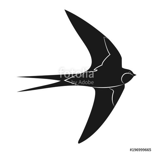 500x500 Swallow Icon Vector Illustration. Silhouette Bird Stock Image