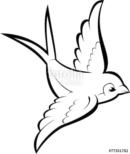 422x500 Silhouette Flying Swallow. Vector Tattoo Illustration. Stock
