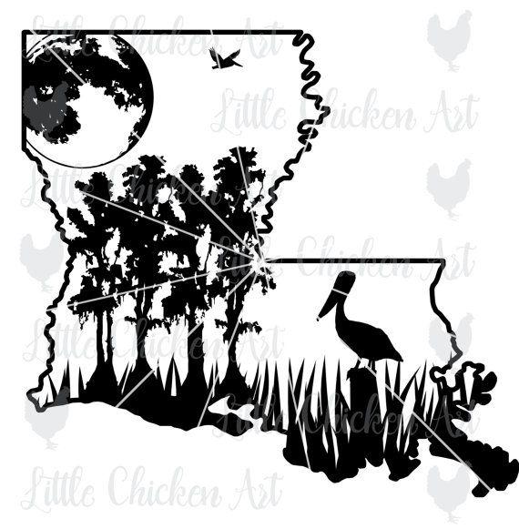 570x581 Louisiana Swamp Scene, Cut File Clip Art, Silhouette, Cricut