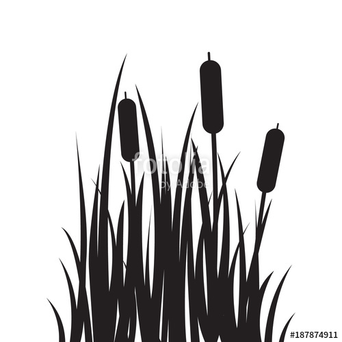 500x500 Carved Silhouette Flat Icon, Simple Vector Design. Cartoon Grass