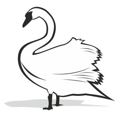 400x400 Black And White Swan Silhouette, Vector File