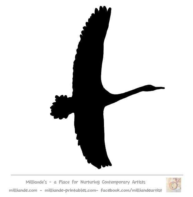 618x631 Flying Swan Silhouette Clip Art Large