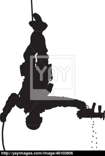 344x512 Swat Soldier Shooting While Rappelling Vector Silhouette Vector