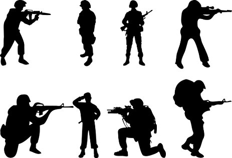 463x316 Military Swat Team Army Men Soldier Silhouette Wall