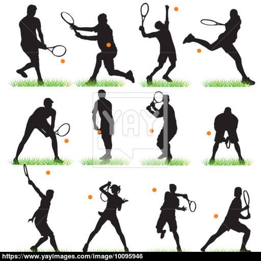 512x512 12 Tennis Players Silhouettes Set Vector