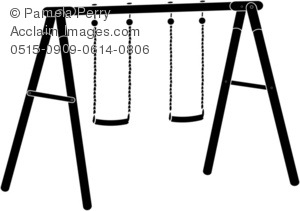 300x211 Swing Set Clipart Black And White