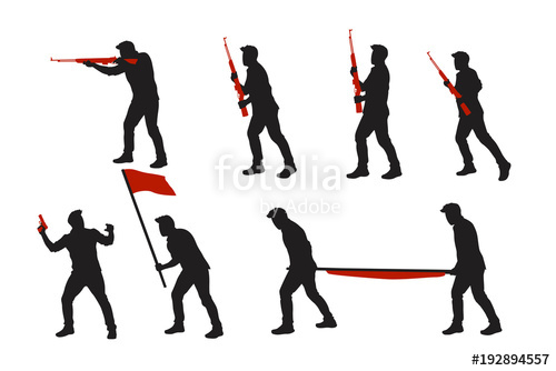 500x334 Two Color War Men Silhouettes Set 02 Stock Image And Royalty Free