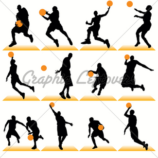 325x325 Basketball Silhouettes Set Gl Stock Images