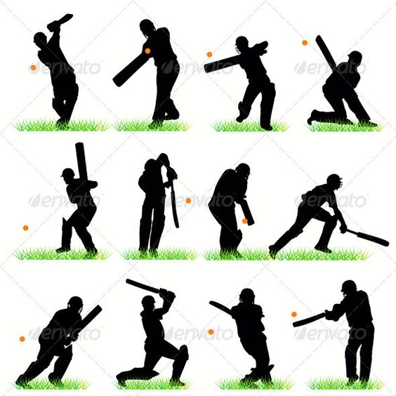 564x564 Cricket Players Silhouettes Set Swings, Wickets And Helmets