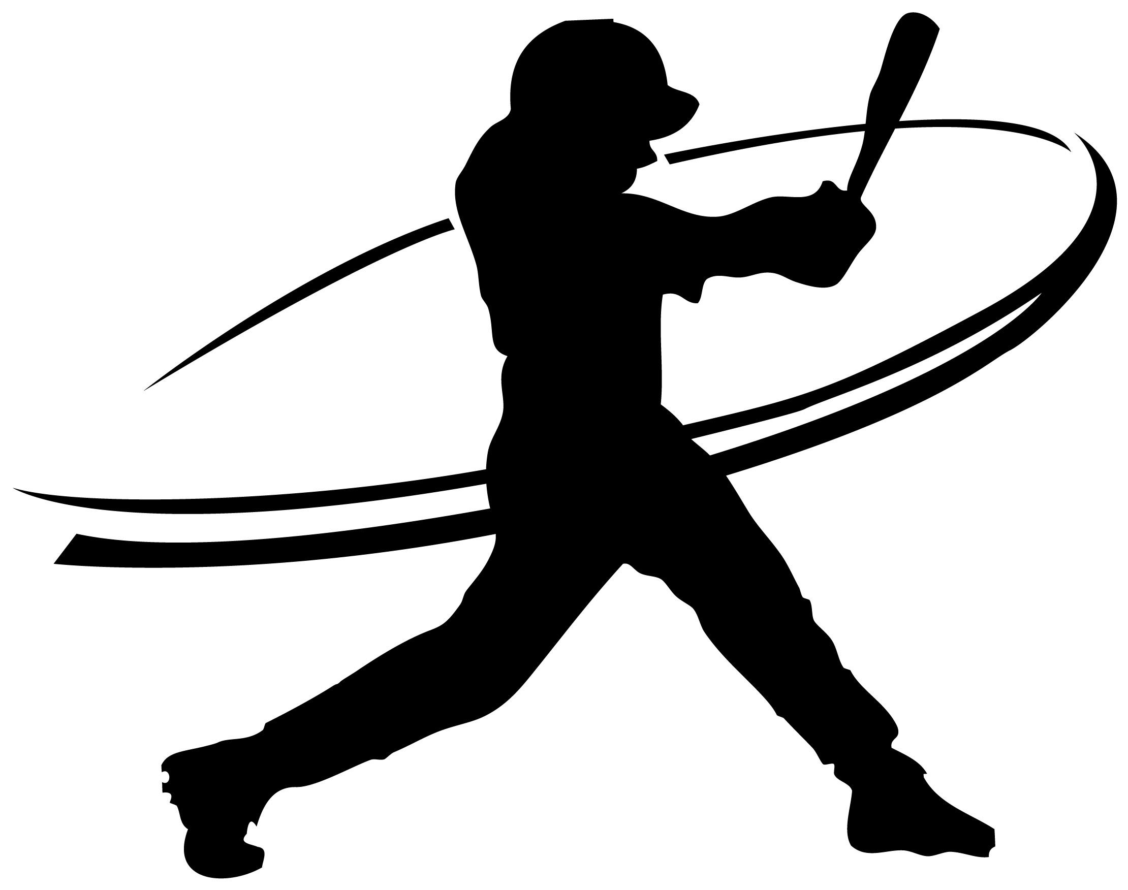 2220x1752 Baseball Girl Swinging Clipart Silhouette