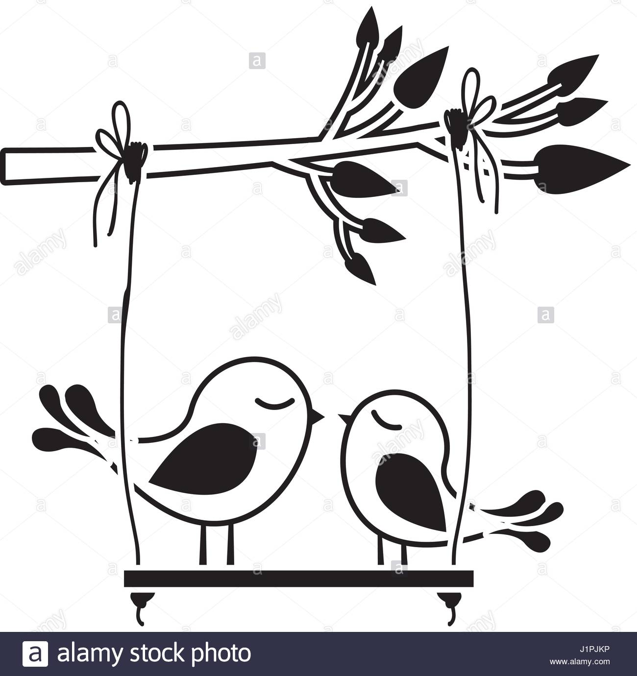 1300x1380 Black Silhouette Of Tree Branch With Swing And Couple Of Birds