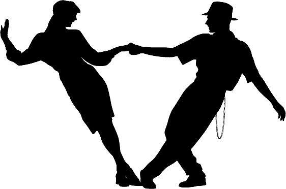 562x372 Couple Swing Dancing Silhouette Die Cut Vinyl Decal Sticker.