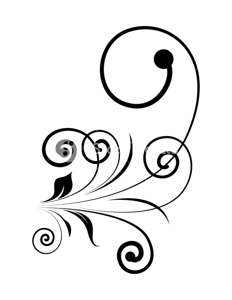 775x1000 Vintage Swirl Silhouette Design Royalty Free Stock Image