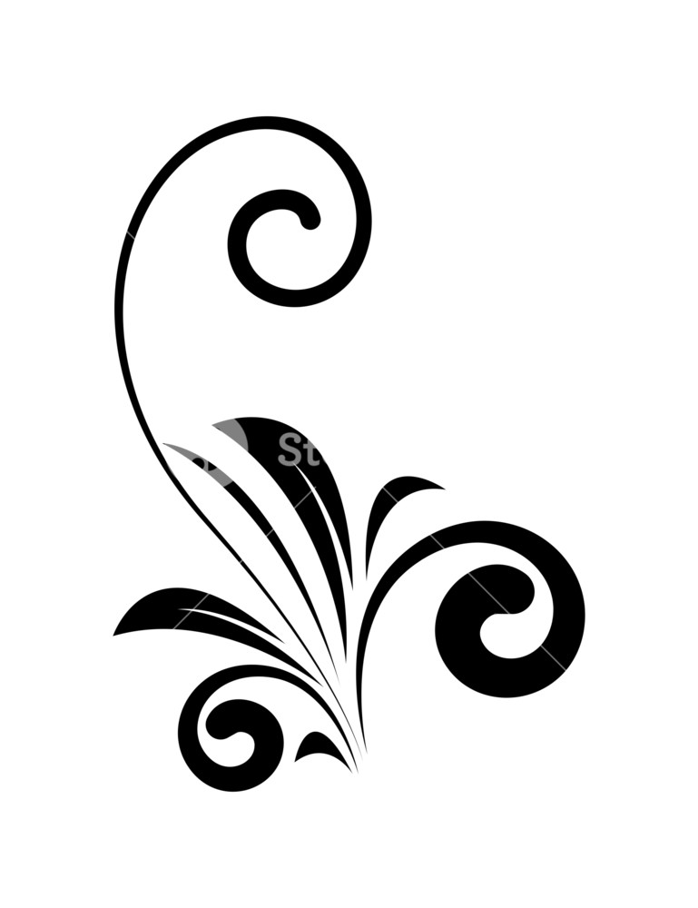 769x1000 Decorative Old Swirl Silhouette Royalty Free Stock Image