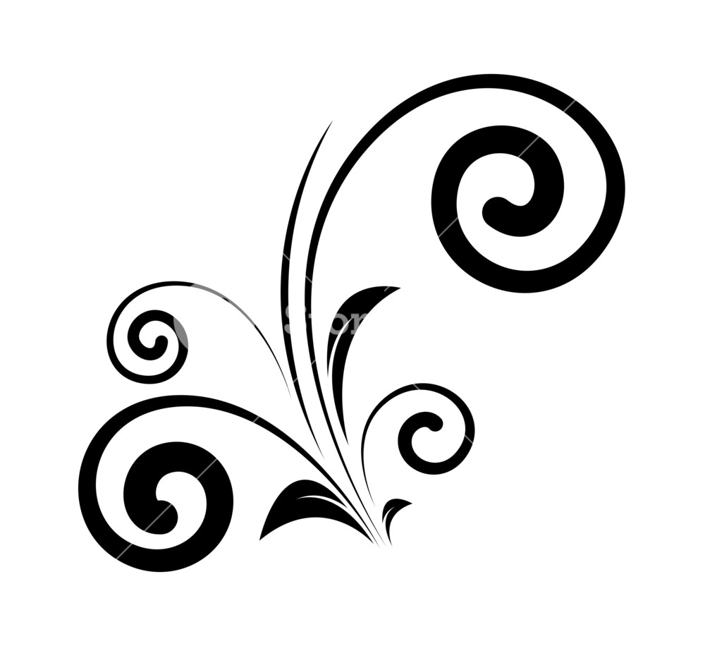 1000x916 Decorative Swirl Floral Elements Silhouette Royalty Free Stock