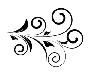 300x250 Decorative Swirl Floral Silhouette Royalty Free Stock Image