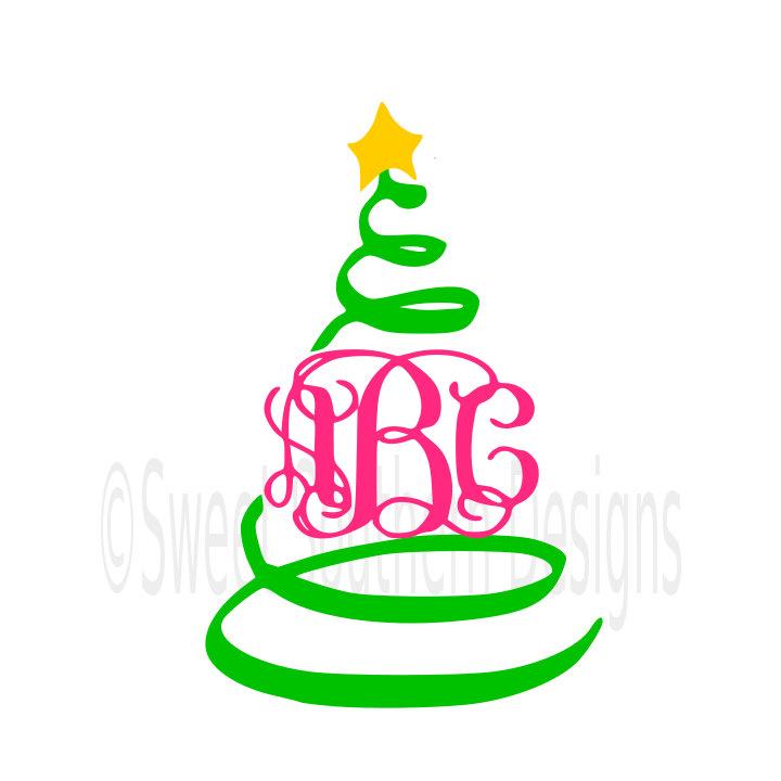 720x720 Swirly Christmas Tree Monogram Svg Instant Download Design