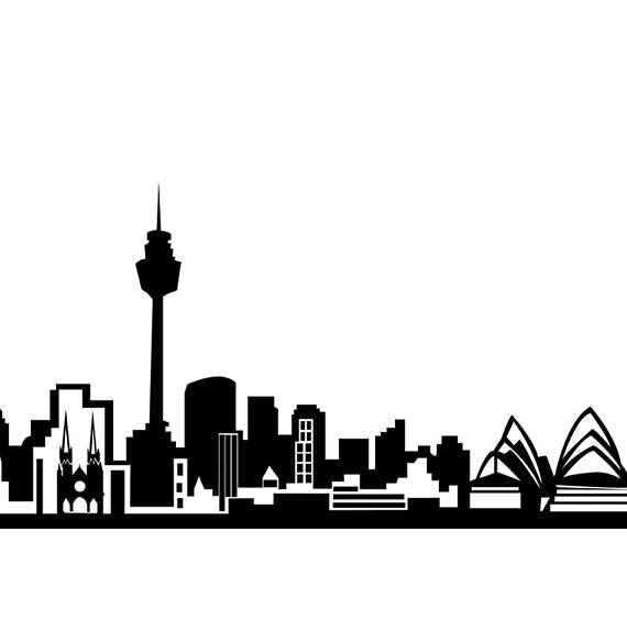 570x574 Sydney Skyline Print Sydney Cityscape Poster Sydney Wall