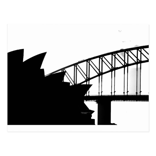 540x540 Sydney Opera House And Harbor Bridge Silhouette Postcard