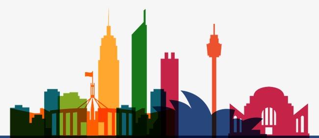 650x281 Color Australian City Silhouette Vector, Australia, Sydney Opera