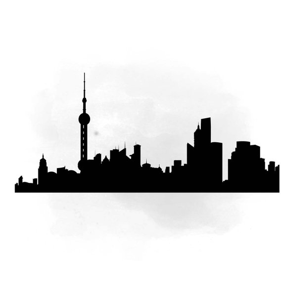 570x609 City Skyline Shanghai Svg Clipart International City Digital
