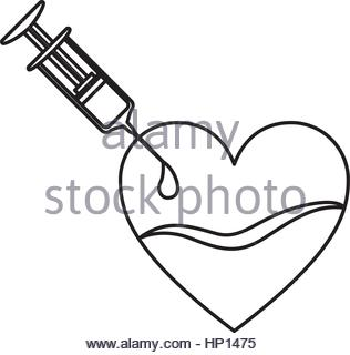 316x320 Silhouette Needle Syringe Donate Blood In Heart Shape Vector Stock