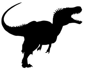 300x243 Biker T Rex In Sky With Moon 80s Parody Heart Sticker. Dinosaur T