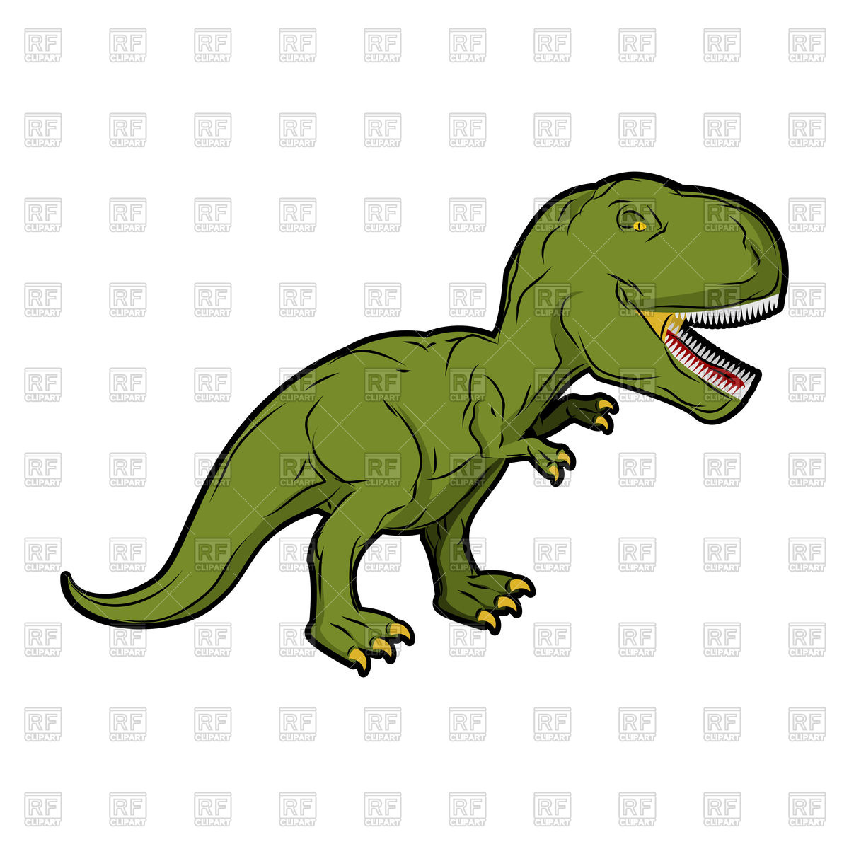 1200x1200 Scary Cartoon Dinosaur, Green Tyrannosaurus Rex Royalty Free