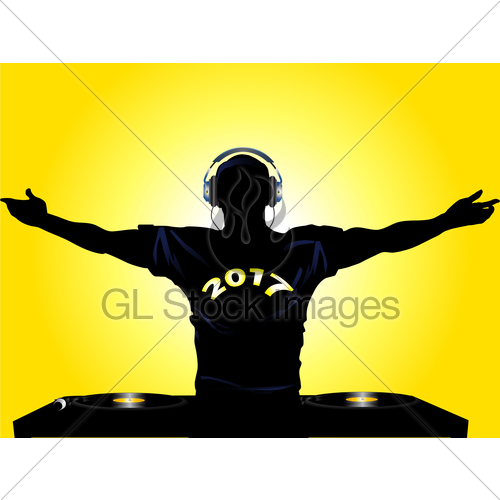 500x500 Dj Silhouette With 2017 T Shirt Gl Stock Images