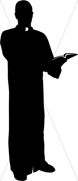 265x612 Catholic Priest Silhouette With Bible Clergy Clipart