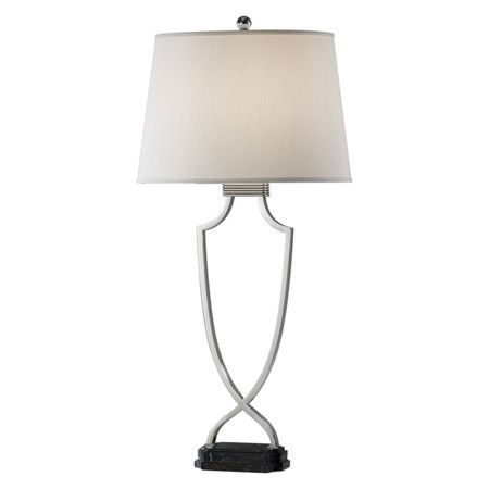 450x450 Polished Nickel Table Lamp With An Urn Silhouette And Black Marble