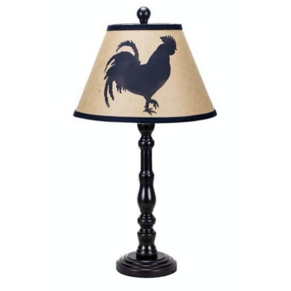 600x600 Set Of 2 Country Rustic Black Table Lamps With Rooster Silhouette