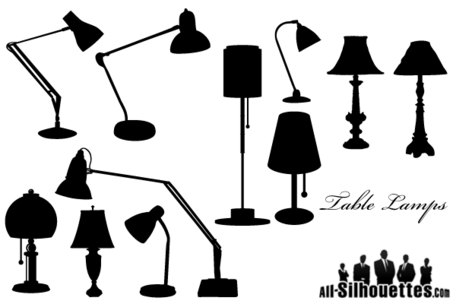 456x304 Free Vector Table Lamps Silhouettes, Clipart