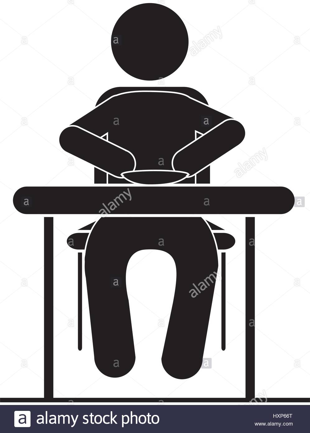 996x1390 Black Silhouette Pictogram Sitting In Table With Dish Stock Vector